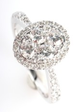 Diamond ring with diamonds from FHP Luxe Collection, 14 kt rhodium-plated gold, 0.97 ct