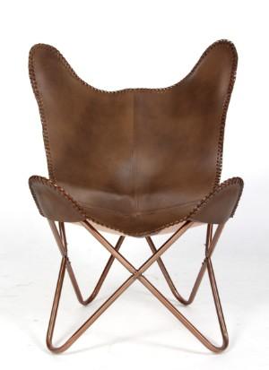 Batchair / Flagermus lænestol, brunt skind - Dk, Esbjerg, Oddesundvej - Bat chair / Flagermus-stol med rørstel af kobberfarvet lakeret stål, betræk af brunt læder. SH. 36 cm. H. 98 cm. - Dk, Esbjerg, Oddesundvej