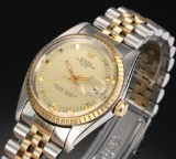 Rolex 'Date'. Vintage men's watch, 18 kt. gold and steel with pale dial, c. 1978