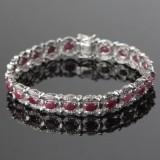 Rubin og diamant armbånd i 9 kt. hvidguld