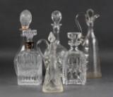 Samling kakarafler, krystal og presset glas(6)