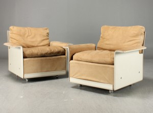 dieter rams paar sessel 39 620 39 vitsoe wildleder. Black Bedroom Furniture Sets. Home Design Ideas