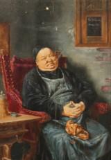 Eduard Von Grützner, porträtt av munk, olja på panel
