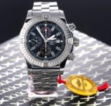 Breitling 'Super Avenger'. Men's chronograph in steel with black dial - box + certificate 2011