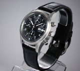 IWC 'Fliegerchronograph'. Men's watch, steel, with original strap and clasp, c. 2002