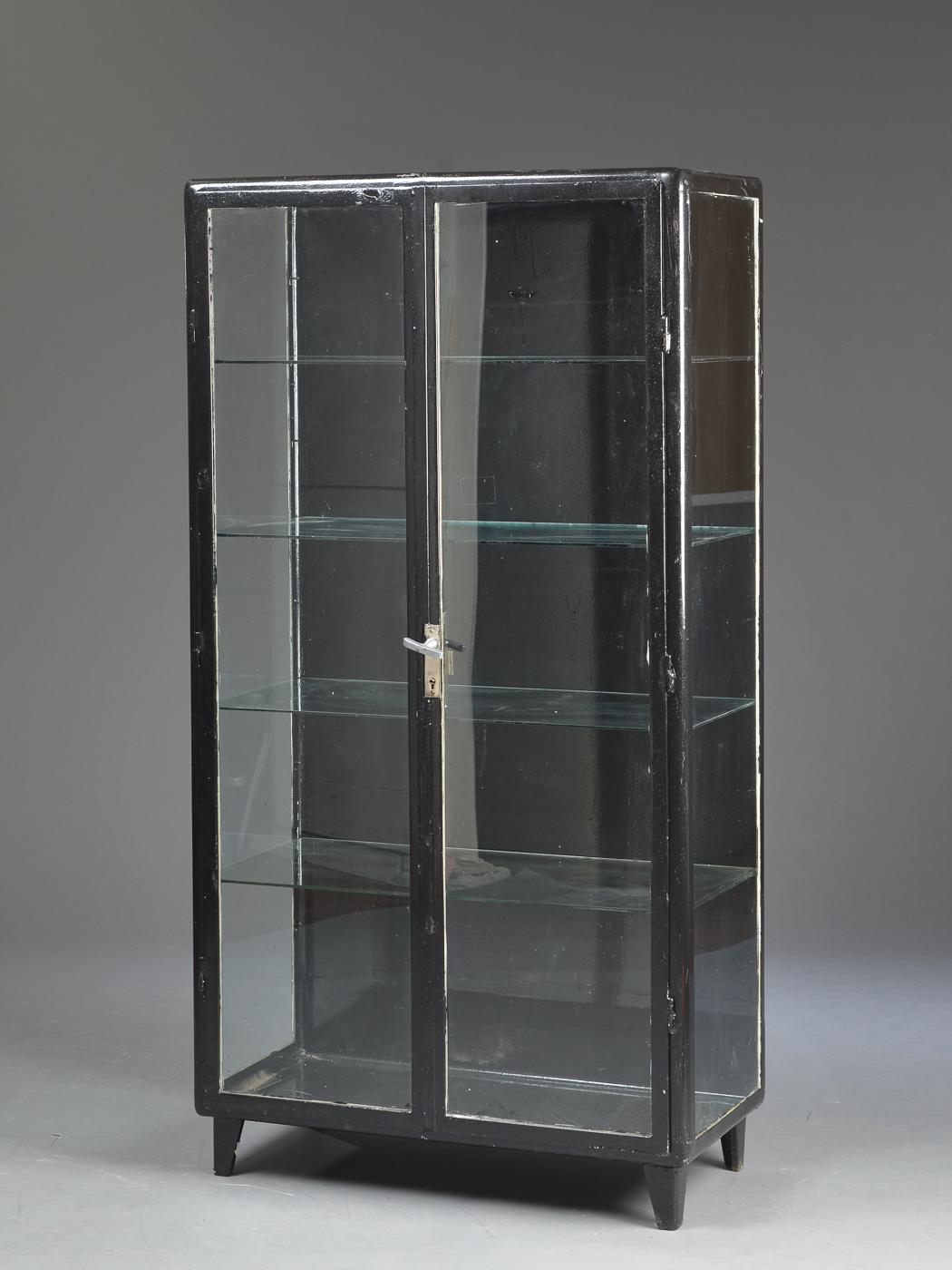 Großartig Vitrine Glas Sammlung Von Vitrine-/tandlægeskab, Metal Og Glas, 1950´erne. Sort