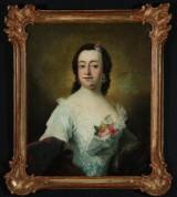 Peder Als. Portræt af Regitze Sophie Skeel i samtidig ramme, 1757