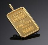 Vedhæng i form af guldbarre. 5 gr.