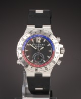 Bvlgari 'Diagono GMT'. Automatic men's watch, steel with black dial
