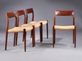 N. O. Møller. Et sæt på fire stole af palisander, model 77 (4)