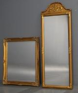 To spejle. Forgyldt, ene med facetslebet spejl (2)