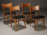 Dansk møbelproducent. Spisestole, teaktræ/egetræ (4)