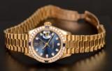 Damarmbandsur, Rolex Oyster Perpetual Datejust 18k med diamanter och saphir