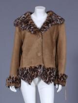 Ruskindsjakke 'Tomahawk' med imiteret leopardprintet kunstfor, str. 42