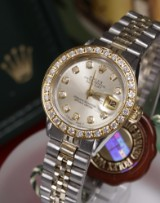 0a758f3a556 Rolex Oyster Perpetual Lady Datejust, diamond dial and sapphire bezel,  approx. 0.12 &
