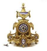 Antique French pendule with hand-painted dial