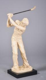 Skulptur i form af golfspiller, resin, af nyere dato