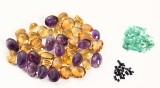 Uindfafattetede smaragder, safirer, citriner og ametyster