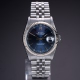 Rolex 'Datejust'. Men's watch, steel with blue dial with date - certificate 2006