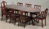 Mahognibord med 8 stole