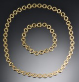 Two-in-one necklace and bracelet, 18 kt gold