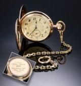 System Glashütte. Usædvanlingt stort herrelommeur i 14 kt. guld, ca. 1910-20