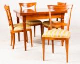 Spisestuemøblement, kirsebærtræ, bord med udtræk, 4 stole (5)