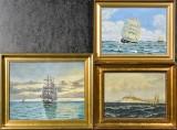 Carl Schmidt m.fl., olie på plade / lærred, marinemotiver (3)