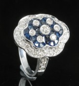 18kt diamond and sapphire Art-Deco ring approx. 0.75ct