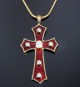 English diamond and enamel crucifix in 18 kt. gold with snake chain in 14 kt. gold. London, 2000