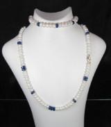 Set Kette und Armband mit Perlen und Lapis, Schließe in Gold ( 2 )