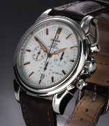 Omega 'De Ville St. Moritz'. Men's chronograph, steel with white dial, c. 2007