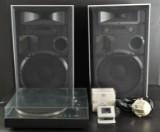 Thoréns skivspelare, ett par Jamo högtalare, ett par hörlurar Hasiden samt Onkyo remote receiving sensor unit (5)