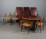 Niels O. Møller. Six roseewood chairs, model 79, dining table with extension leaves (9)
