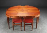 Hans Olsen. Dining table with accompanying chairs, teak (7)