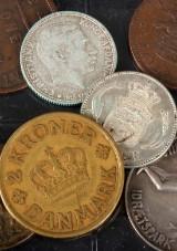 Mønter - kroner og erindringsmønter i sølv med mere
