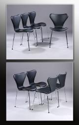 Arne Jacobsen. Et sæt på otte stole 'Syveren', model 3107, sort læder, Ny siddehøjde 46,5 cm. (8)