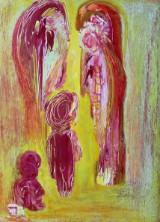 Ubekendt kunstner. Abstrakt komposition, olie på plade, 1998