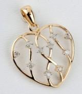 Hjertevedhæng med diamanter