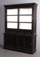 Apothecary/glass cabinet, French country style, black antiqued paint