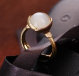 Ole Lyggaard. 'Lotus' ring in 18 kt. yellow and rose gold with moonstone