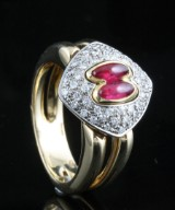 18kt diamond and ruby ring approx. 0.45ct