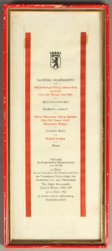 Harold Wilson, Prime Minister of the United Kingdom of Great Britain and Northern Ireland, a menu for a breakfast hosted in honour of Harold Wilson in Berlin on March 6, 1965