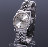 Rolex Datejust. Men's watch, steel, with silver-coloured dial with date, c. 1987