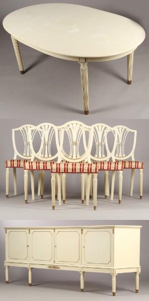 Slutpris för hvid spisestue med ti stole.