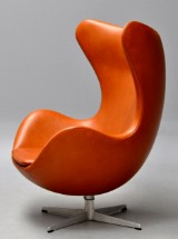 Arne Jacobsen. Lounge chair, The Egg, with cognac 'Canyon' aniline leather