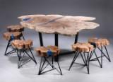 Andser Solid Wood. Unika plankebord af massivt asketræ med seks stole af massivt blommetræ (7)