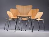 Arne Jacobsen. Sæt på seks stole 'Syveren' model 3107 i bøg (6)