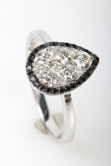 Diamond ring from FHP, 14 kt. rhodium-plated gold, approx. 0.75 ct.