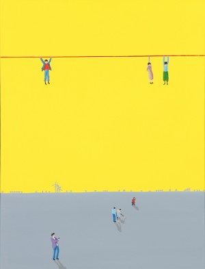 Jens Ulrich Petersen. Snoremænd - Dk, Vejle, Dandyvej - Jens Ulrich Petersen (f. 1947). 'Snoremænd', olie på lærred, sign. på bagsiden. 80 x 60 cm. Uden ramme. Læs kunstnerprofil her - Dk, Vejle, Dandyvej